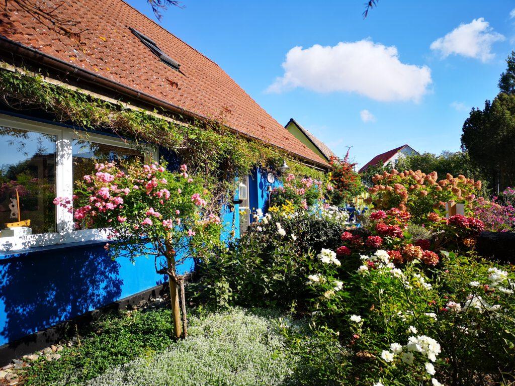 Wiek Haus mit Garten und vielen Blumen