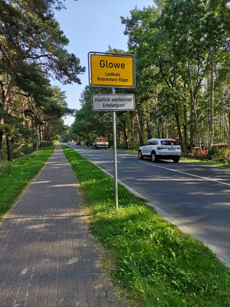 Glowe Ortseingang Radweg Vitt nach Saanitz