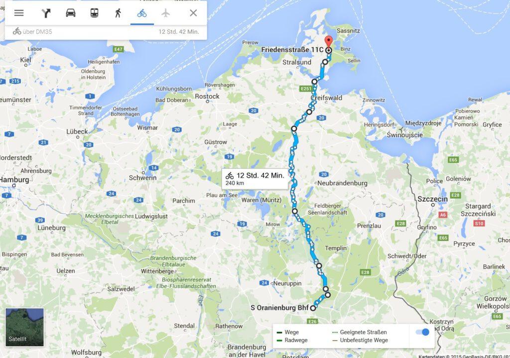 Radtour Berlin Ruegen Karte